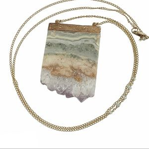 Agate natural stone block on gold filled necklace